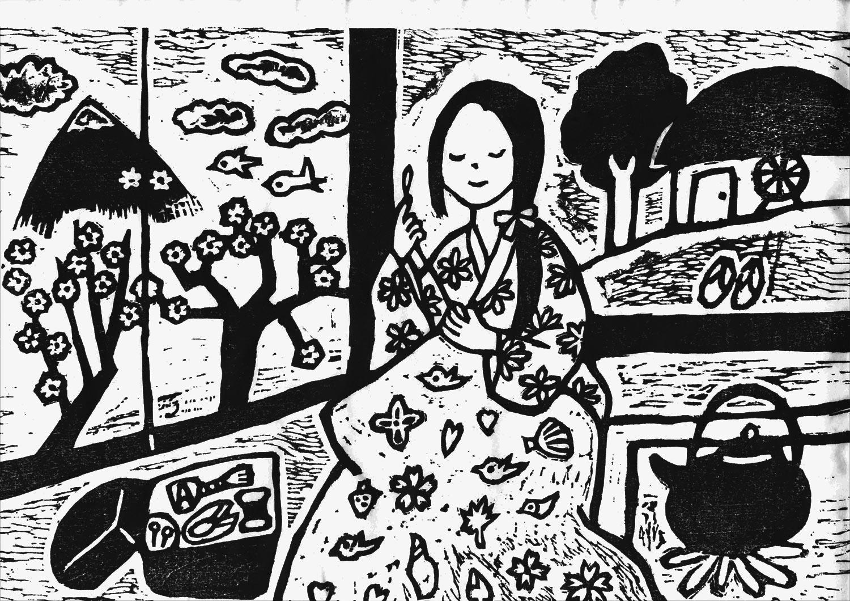 富士見湖の伝説を版画で見る 白上姫が着物を縫っている場面