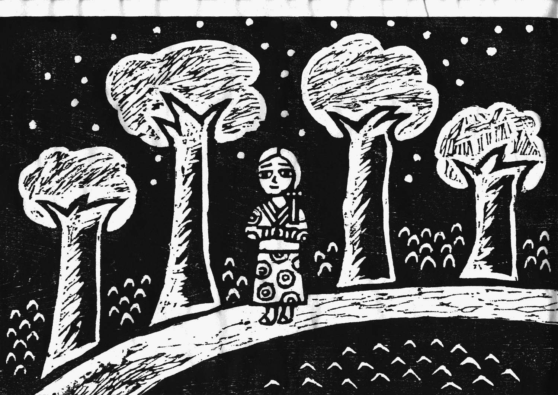 富士見湖の伝説を版画で見る 白上姫が湖のほとりを歩いている場面