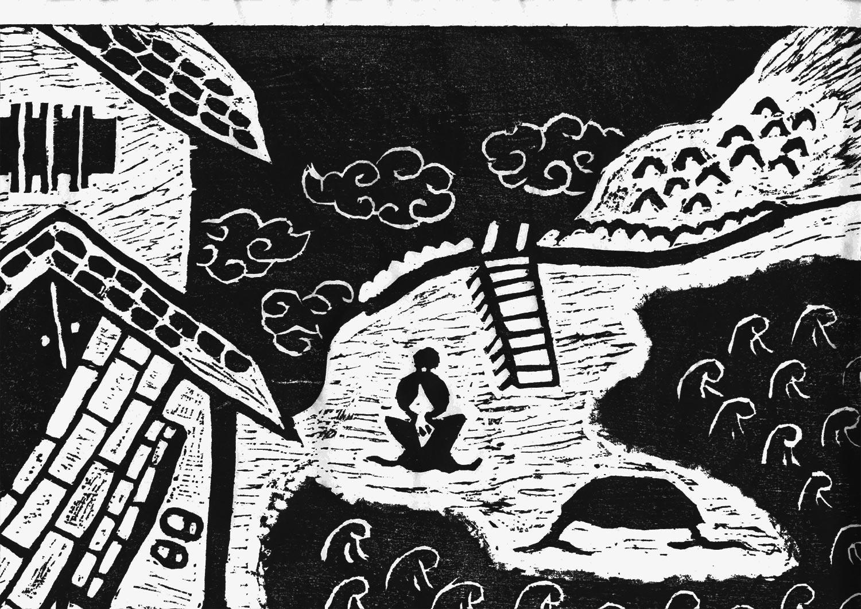 富士見湖の伝説を版画で見る 城主が湖に身を投じる場面