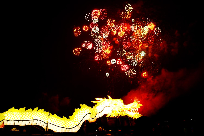津軽富士見湖の伝説をモチーフとした龍神船