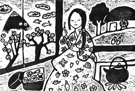 津軽富士見湖伝説の版画