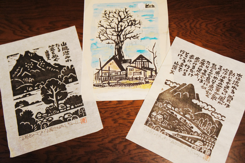 思い出のタモの木などをモチーフにした版画。