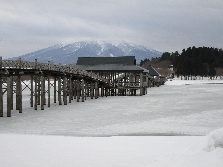 鶴の舞橋周辺の積雪情報(2017年12月22日)