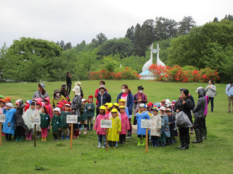 富士見湖パークで花の植栽